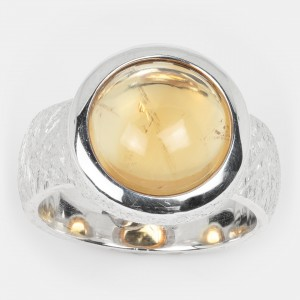 Zitrin Ring Silber 12mm Ovalis