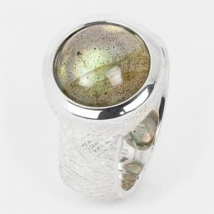 Labradorit Ring grau Silber...