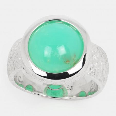 Chrysopras Ring Silber 12mm Ovalis