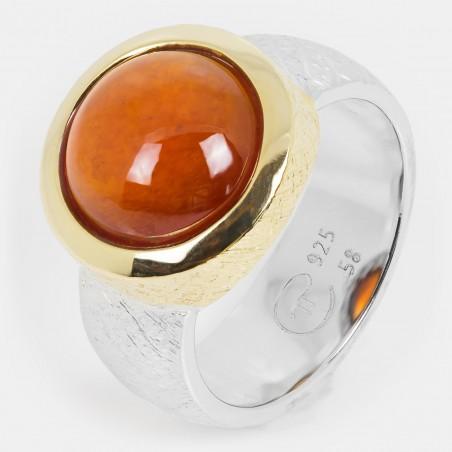Granat Ring vergoldet Silber 12mm Ovalis