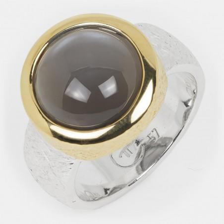 Mondstein Ring grau vergoldet Silber12mm Ovalis
