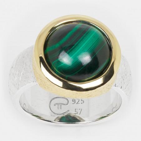 Malachit Ring vergoldet Silber 12mm Ovalis